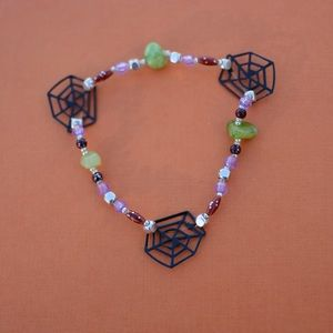 Jewelry - Spider web anklet with green stone accent